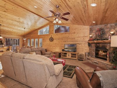 Photo for Mountain Bliss: Remarkable Single Story Log Style Home in Pinewood Estates! Outdoor Hot Tub! Arcade!