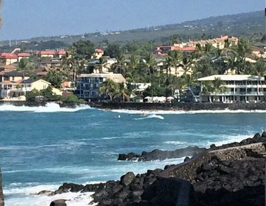 View from our lanai into Kahului Bay with surfers trying to catch a wave.