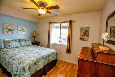 Bedroom with Queen Sized bed and comfortable high quality linens.