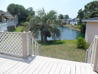 Rear Deck with back yard on the Lake