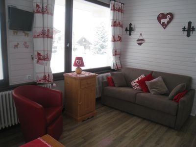 Photo for Apartment for 4 people at the foot of La Turche ski slopes with South-facing terrace and mountain views