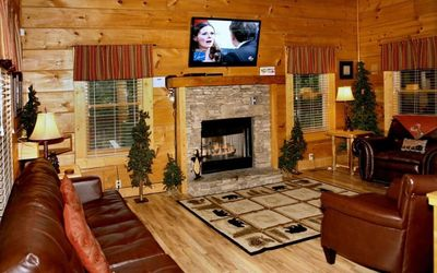 A Cozy Cabin with HBO & Showtime. Enjoy a relaxing moment by the fireplace.