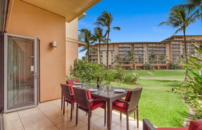 Photo for Maui Resort Rentals: Honua Kai Hokulani 140 – Large Ground Floor 1BR, Spacious Lawn Area + Easy Pools/Beach Access
