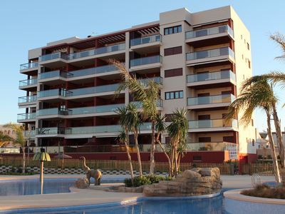 Photo for Modern apartment in 1st line beach, terrace with sea views and pool