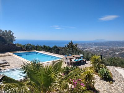 Photo for villa private pool + jacuzzi and breathtaking views of bay/ mountains FREE WIFI