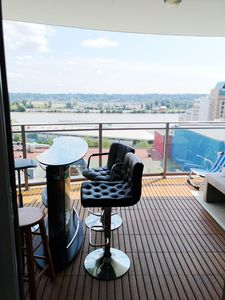 Balcony bar. You can enjoy 270° view of Fraser River and historic downtown while relaxing with a cup of tea/coffee.