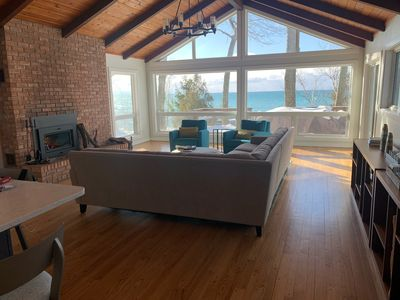 View from counter seating. Bright living room. Wide views of Lake Michigan.