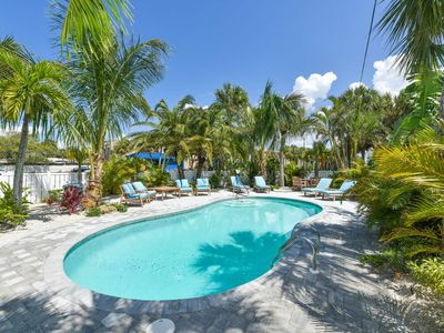 Photo for Tropical Breeze Resort - 2 Bedroom Suite w/ Private Pool - Sleeps 8 - 1/2 Block to Siesta Key Beach and Village District. INCLUDED: Daily Housekeeping, Bikes, 2 Pools/1 Spa, Beach Chairs, Beach Towels, WiFi, Parking , Games, BBQs and More!