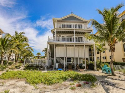 This exquisite beachfront home located on the north end of Fort Myers Beach has 8 bedrooms and 6.5 baths. This spacious 2 story vacation homes sleeps up to 18 guests and has private separate outside entrances.