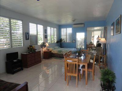 Spacious opne-floor plan with plenty of windows and remote control air console.