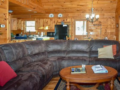 Photo for Mountain Views! Spacious secluded 3 Bed/3 Bath cabin, Game Room Fire Pit Pets OK
