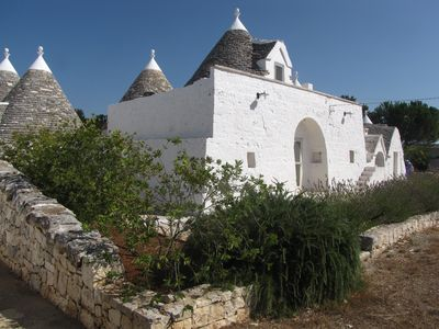 The front of our lovely trulli with its top circular bedroom
