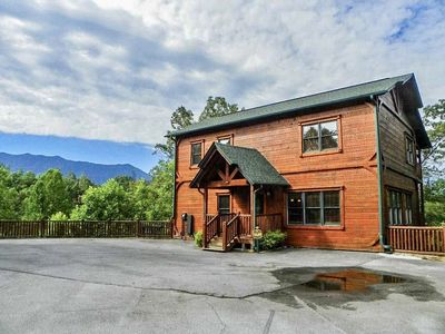 Photo for Luxury Cabin - Stunning Mountain Views!! Theater Room, Hot Tub, Game Room