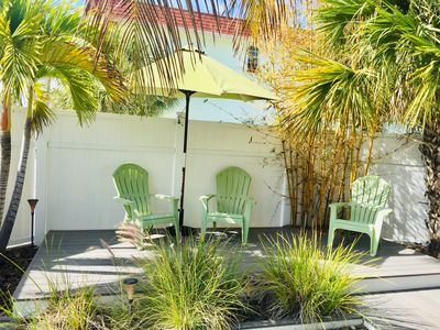 Photo for Cozy Water View House, One Block From The Beach, Private Yard!
