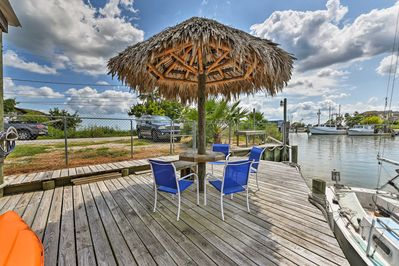 Enjoy your catch of the day at the covered seating area on the dock!