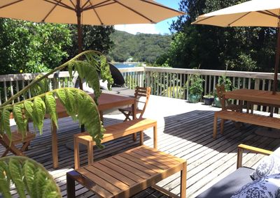 Spacious deck overlooking Shoal Bay