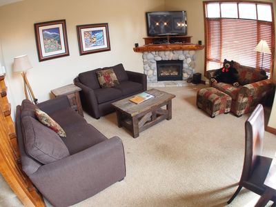 Photo for Spacious multi level 4 bedroom + den townhouse, close to ski run, great views of Mt. Morrisey