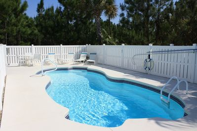 The pool is 12x32 and can be heated for a fee. There is also an 8-person hot tub