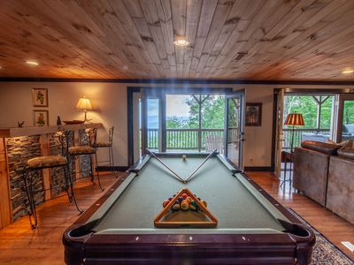 Photo for 6BD/5BA on Wooded Mountainside with Long Range Views, Hot Tub, King Suites, Pool Table, near App Ski Mtn!