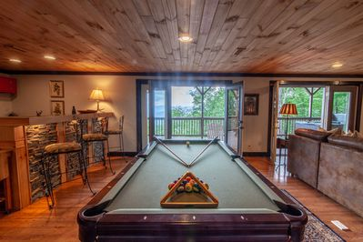 Pool Table and Second Kitchen in Downstairs Den and Game Room