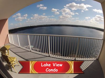 Photo for LARGE Luxury LAKE View Family Resort High Floor CONDO near DISNEY and Universal