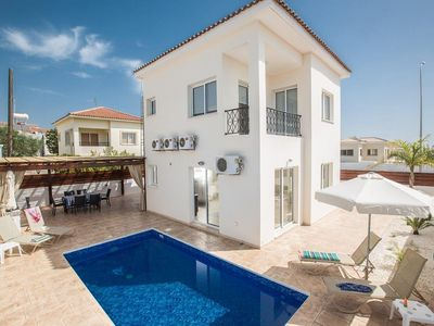 Photo for Spacious and Modernly Furnished 3 Bedroom Villa with A/C, Private Pool only 300 m from the Beach!