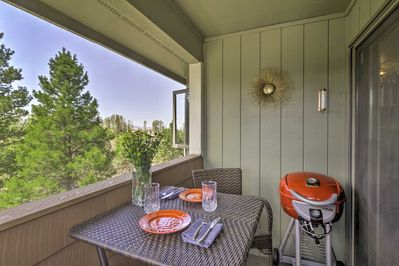 Relax on your private balcony as dinner sizzles on the electric grill.