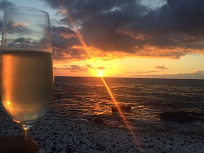 Bring a bottle of wine and watch beautiful sunsets at Holoholokai State Beach Park