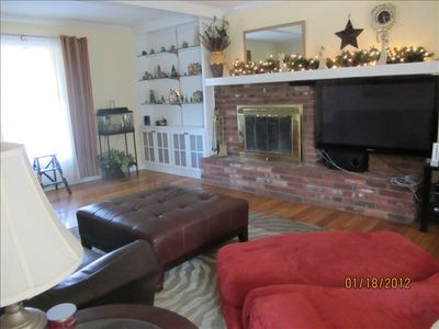 Family Room w/fireplace and 50-inch plasma tv