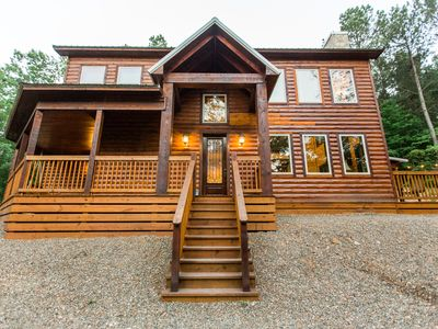 "Photo for ""On the Rocks"" Luxury Cabin! 5 Bdrms; 4 Bths; Hot Tub; Fire Ring; Hillside Views"