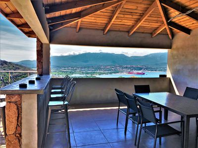 Photo for Between sea and maquis, sea view, superb villa 4 bedrooms with PRIVATE POOL