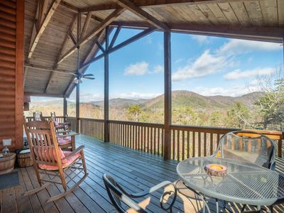 Photo for Privacy, peace and quiet - and fantastic view! Charming Rustic, Family Retreat,  lodge with Hot Tub,