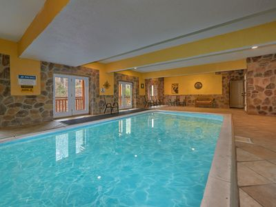 Photo for Ultimate group getaway cabin!  Private indoor pool and Theater Room!