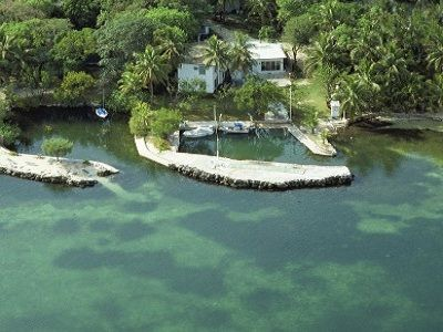 Aerial Photo of Property from Florida Bay. The osprey Nest is on top.