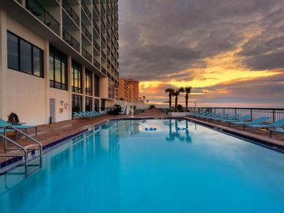 Photo for Oceanfront Unit for 4 Guests! POOL OPEN, Breakfast, Walk to many Attractions!