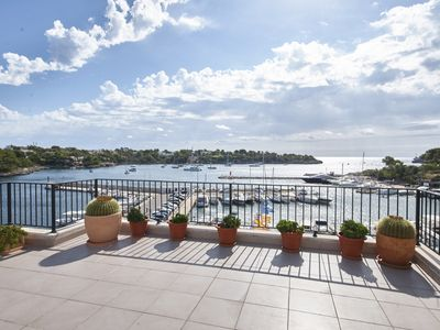 Photo for Modern first line penthouse sea views. 3 bedrooms, Wi-Fi 40m terrace. Portopetro