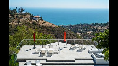 View from the main house of the pool, Carbon Canyon and the Santa Monica bay.