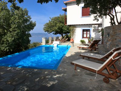 Photo for Traditional Villa Maria O with fantastic view between mountain forest and sea