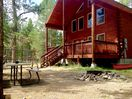 Firepit and picnic table in front of cabin