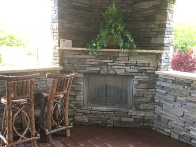 Outdoor gas fireplace.