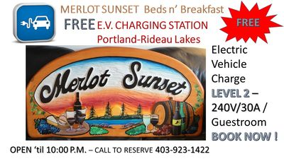 THE Best Bed and Breakfast in Rideau Lakes Portland areas+Electric Vehicle Charg