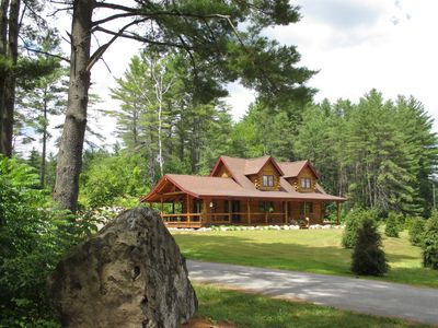 Photo for Beautiful Adk. Log Cabin Sleeps 8-13, Private Beach Access, Great for Lg.Family
