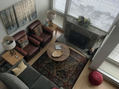 Photo for 2 - 3 bedroom top floor with pool and  hot tubs at the base of Backcomb Mountain