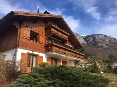 Photo for Mountain chalet with pool & stunning views, close to skiing & summer activities