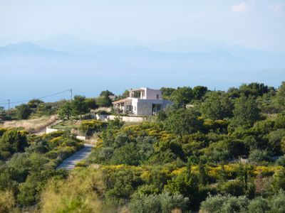 Photo for Magic between mountains & sea - detached natural stone villa with 180 ° sea view