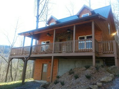 Photo for LUXURY LOG CABIN - BRAND NEW 2018 HOT TUB, GAME ROOM, WIFI, FIRE PIT, VIEWS!