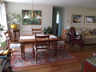 The main room has a comfortable dining tabl that will expand to accommodate 8.