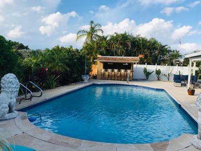 Photo for New on the market! Renovated 3BR/2BA with large heated pool and tiki bar!