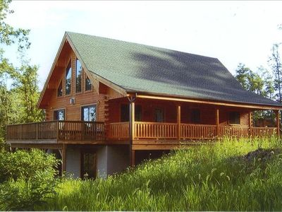 Photo for Amish-Built  5 bedroom Log Home with 50-Mile View in Pocono Ski/Raft/Hiking Area