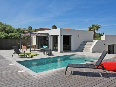 Photo for Modern Villa heated pool, sea view, beach walk between Ile Rousse and Calvi